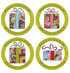 Seasons greeting stickers with christmas gifts vector image vector image