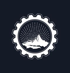 sunrise in the mountains in the gear vector image