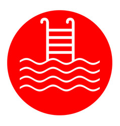 swimming pool sign white icon in red vector image