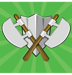 Two crossed poleaxes and shield vector image