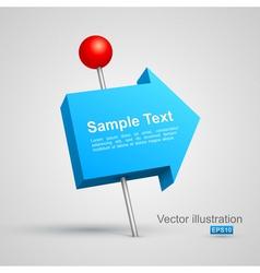 Blue arrow pushpin 3D vector image
