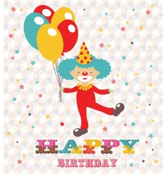 Happy birthday card with clown vector image vector image