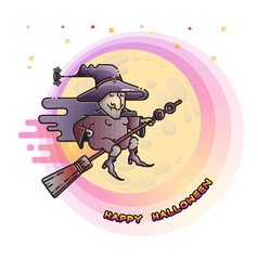 happy halloween card with witch on a broom and vector image vector image