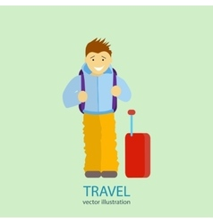 Travel A man stands near the airport vector image