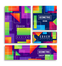 abstract geometric shape colorful cover card set vector image