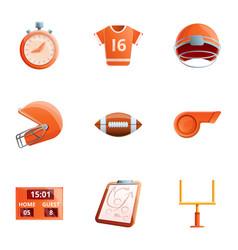 American football sport icon set cartoon style vector