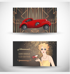 Art deco vintage invitation template design with vector