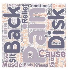 Back Pain Relief text background wordcloud concept vector image