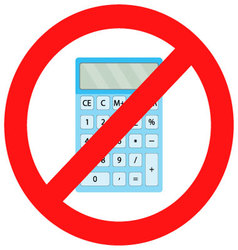 Ban calculator icon flat vector