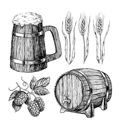 Beer set Alcohol beverage hand drawn vector