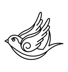 bird drawing tattoo style isolated icon royalty free vector