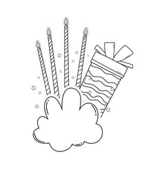Birthday gift box with candles in black and white vector