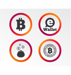 bitcoin icons electronic wallet symbol vector image