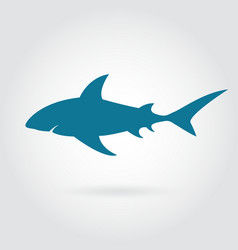 Blue shark silhouette with sharp fins vector