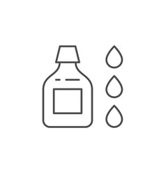 bottle and drops line outline icon vector image
