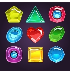 Cartoon Gems and Diamonds Icons Set vector image