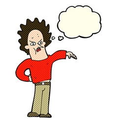 cartoon nasty boy with thought bubble vector image