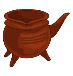Cauldron with legs and handle kitchenware or pot vector