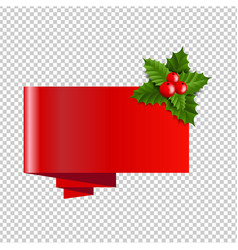 Christmas banner with holly berry transparent vector