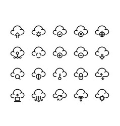 Cloud computing line icons network data transfer vector