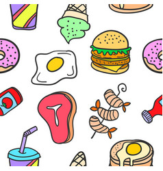 Collection stock of food delicious doodles vector