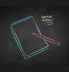 Color chalk drawing notepad vector