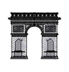 color crayon stripe cartoon monument arch antique vector image
