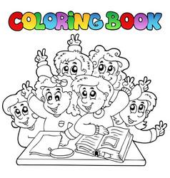 Coloring book school cartoons 3 vector