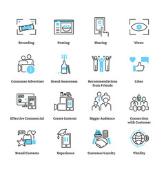 Consumer generated advertising icon collection set vector