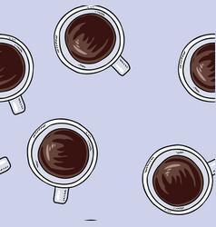 Cups coffee hand drawn cute cartoon seamless vector