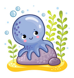 Cute octopus sits on a rock vector