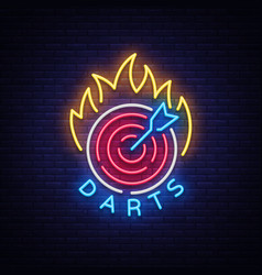 darts logo in neon style neon sign bright night vector image vector image