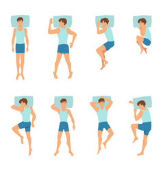Different positions of sleeping man top view vector