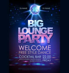 disco ball background poster big lounge party vector image