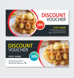 Discount voucher dessert waffle in template design vector