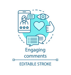 Engaging comments blue concept icon online pr vector