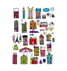 European city icons sketch for your design vector