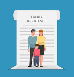 family members are standing on the insurance vector image