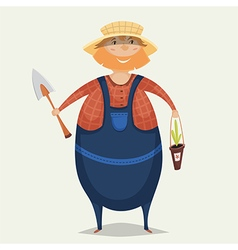 farmer with shovel and plant vector image