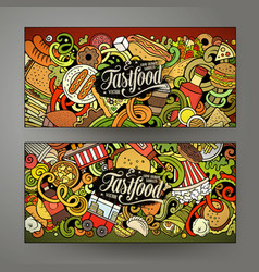 Fast food hand drawn doodle banners set cartoon vector