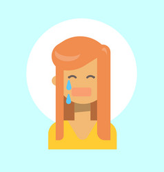 Female cry emotion profile icon woman cartoon vector