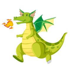 Fire breathing green dragon vector