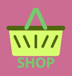 Flat icon basket shop vector