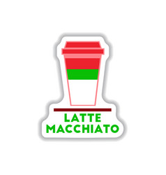 Flat icon design collection latte macchiato vector