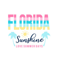Florida slogan and summer icons vector