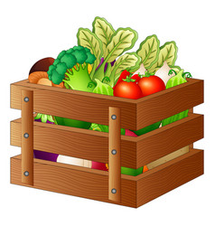 Fresh vegetables in a wooden box vector
