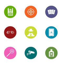 global espionage icons set flat style vector image