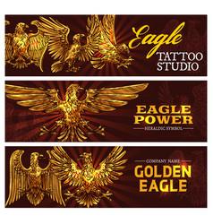 Golden heraldic eagles power symbol vector