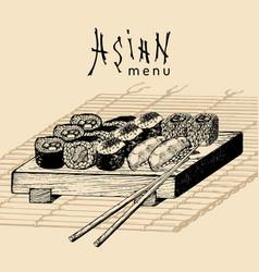 Hand drawn asian menu hand vector