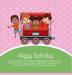 happy birthday train cartoon vector image